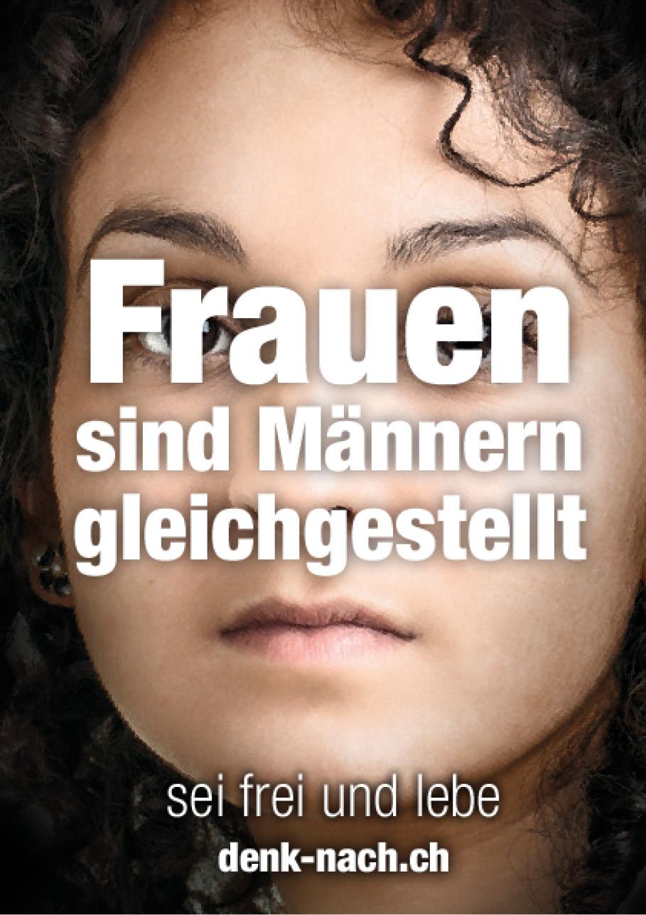 Möglicher Text: «Frauen sind Männer gleichgestellt»